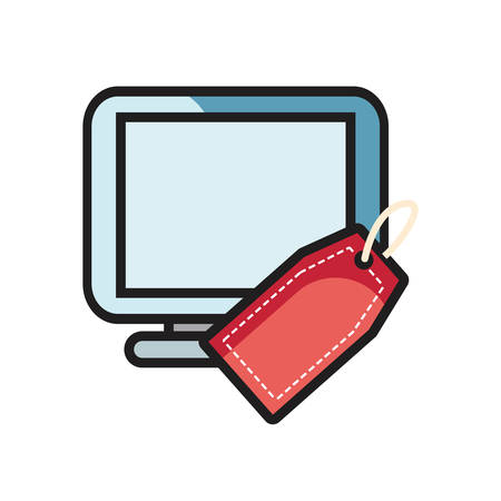 online shopping computer tag price vector illustration