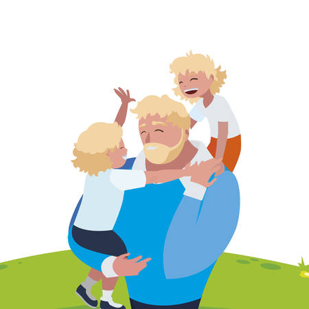 father with sons characters in the field vector illustration design 向量圖像