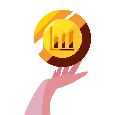 hand with gold coin diagram vector illustration Illustration
