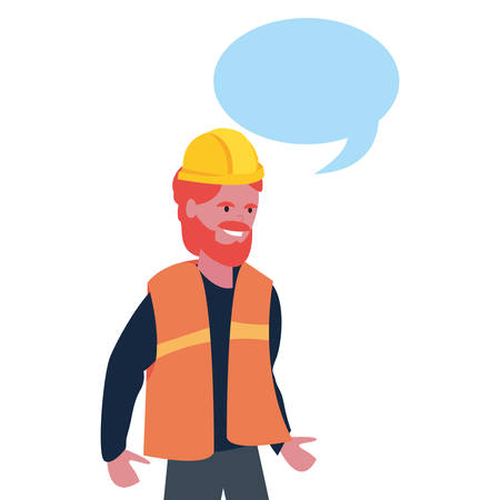 builder speech bubble labour day vector illustration  イラスト・ベクター素材