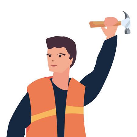 construction worker male hammer vector illustration design