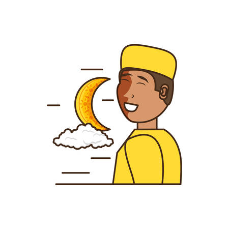 islamic little boy with moon vector illustration design Çizim
