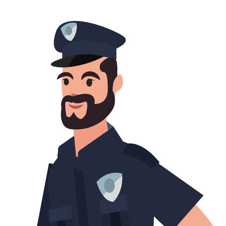 policeman character portrait uniform on white background vector illustration