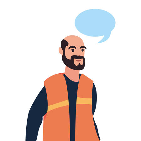 builder speech bubble labour day vector illustration Ilustrace