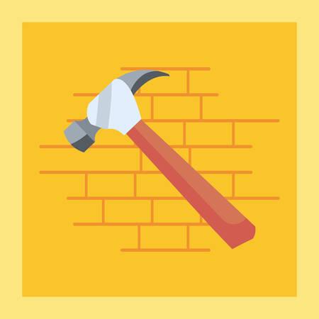 hammer icon tool wall brick vector illustration design