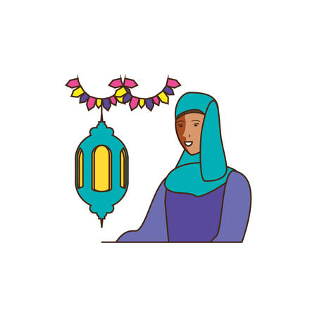 islamic woman with lantern hanging vector illustration design