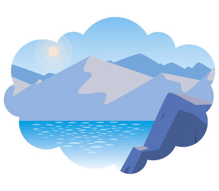 lake and mountains scene vector illustration design Çizim