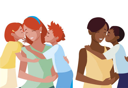 interracial mothers with little kids characters vector illustration design Stock Illustratie