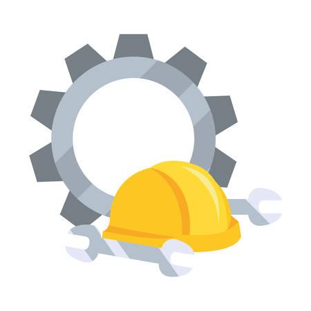 helmet gear wrenches icon vector illustration design Illustration