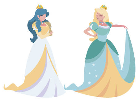 beautiful princesses of tales characters vector illustration design