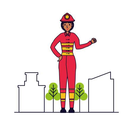 firefighter professional female with cityscape vector illustration design Ilustração
