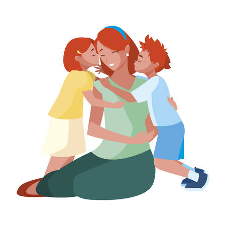 beautiful mother  with little son and daughter vector illustration design 向量圖像
