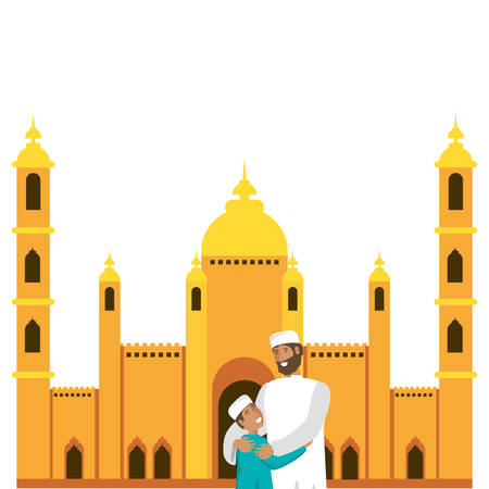 islamic man with son in mosque building vector illustration design Ilustração