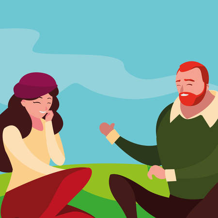 young couple seated in the field vector illustration design 일러스트
