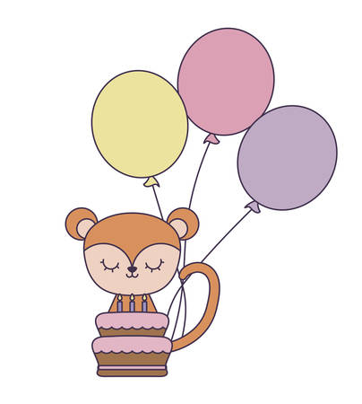 cute monkey with cake of birthday and balloons helium vector illustration design