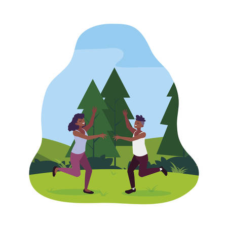 afro young couple celebrating in the park vector illustration design
