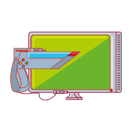 tv with gun for video game vector illustration design  イラスト・ベクター素材