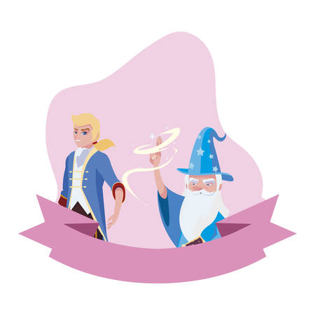prince charming and wizard of tales characters vector illustration design