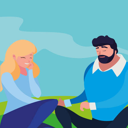 young couple seated in the field vector illustration design 스톡 콘텐츠 - 124988149