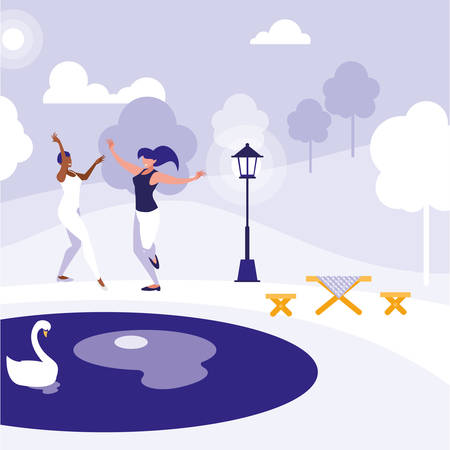 young interracial girls dancing in the park vector illustration design Banco de Imagens - 124988151