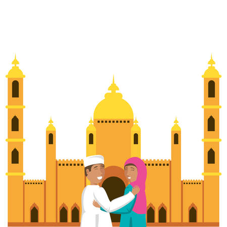 islamic couple lovers with mosque building vector illustration design
