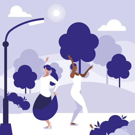 young interracial girls dancing in the park vector illustration design Ilustração