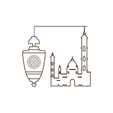 ramadan kareem lantern hanging with mosque building vector illustration design Ilustração