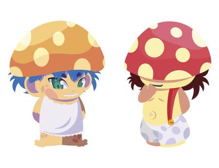 fungus elfs magic characters vector illustration design