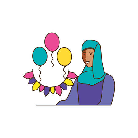 islamic woman with balloons helium and garlands vector illustration design 向量圖像