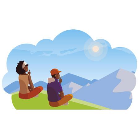 interracial couple contemplating the horizon in the field scene vector illustration Illustration