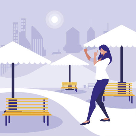 young woman dancing in the park character vector illustration design Banco de Imagens - 124988237