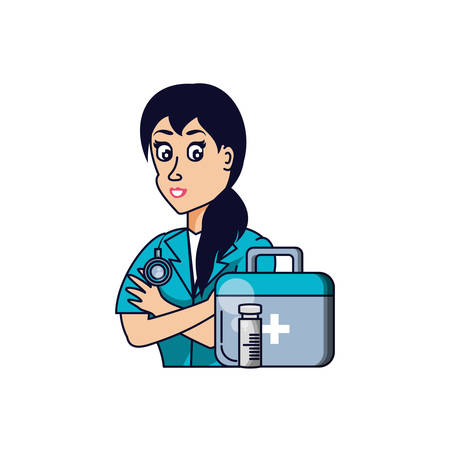 doctor female professional with first aid kit vector illustration design Ilustração