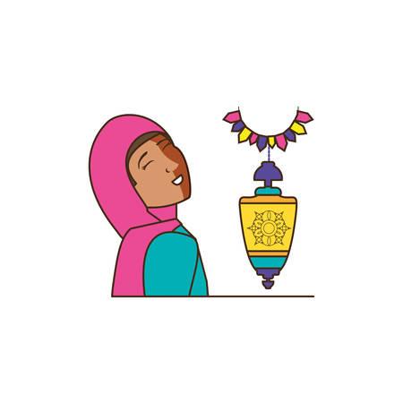 islamic little girl with lantern hanging vector illustration design