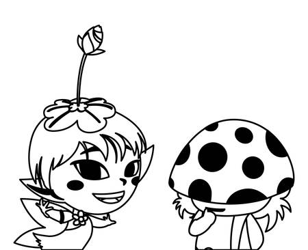 beautiful magic fairy and fungu elf characters vector illustration design Illustration