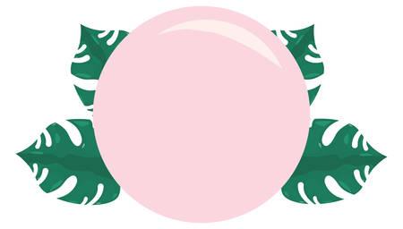 summer time badge leaves tropical template   vector illustration Illustration
