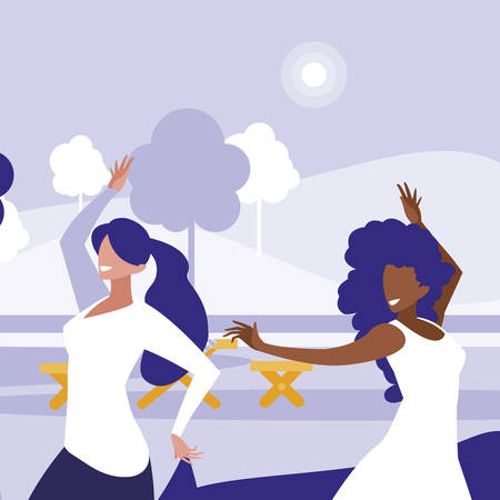 young interracial girls dancing in the park vector illustration design 向量圖像