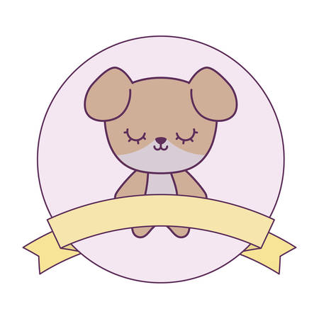 cute dog animal with ribbon in frame circular vector illustration design