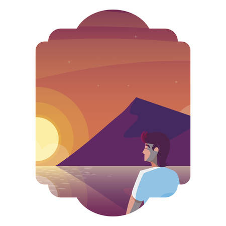 man contemplating horizon in lake and mountains scene vector illustration design Illustration