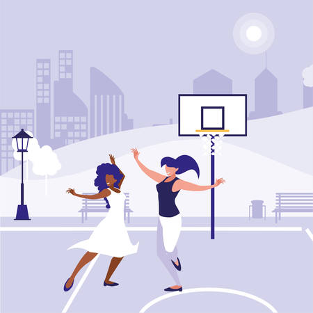 young interracial girls dancing in the park vector illustration design Banco de Imagens - 124988285
