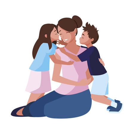 beautiful mother  with little son and daughter vector illustration design Illustration