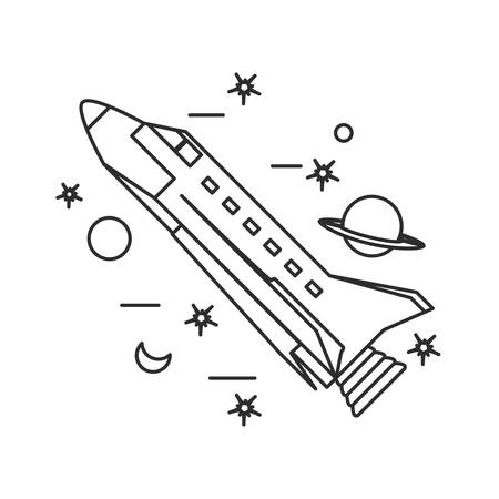 space shuttle with planet saturn and set icons vector illustration design
