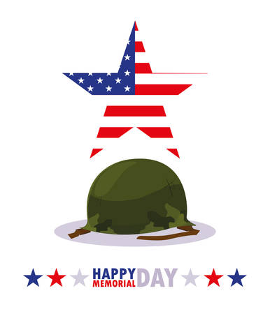 happy memorial day card with military of helmet vector illustration design