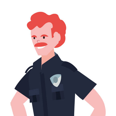 policeman character portrait uniform on white background vector illustration