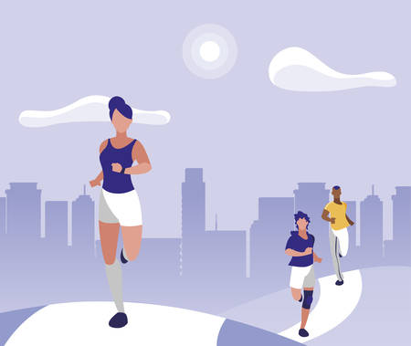 athletics group people running in the park vector illustration design Illustration