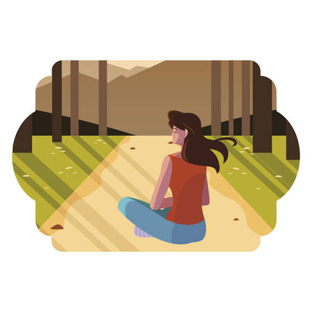 woman contemplating horizon in the forest scene vector illustration design