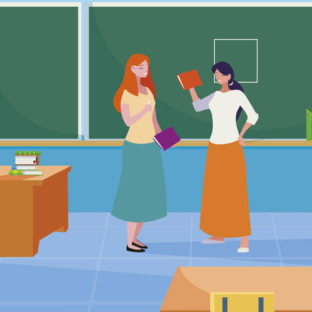 female teachers couple with in the classroom vector illustration design