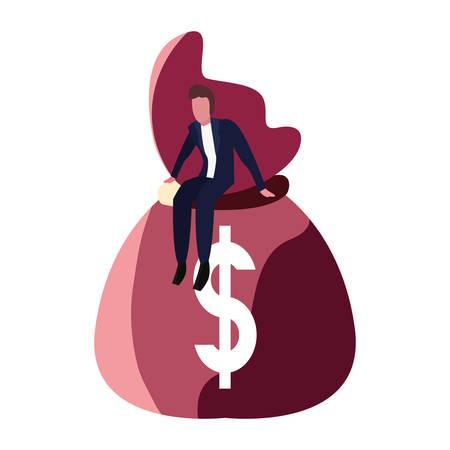 businessman sitting on money bag vector illustration