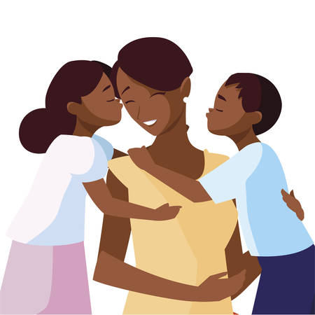 beautiful black mother  with little son and daughter vector illustration design
