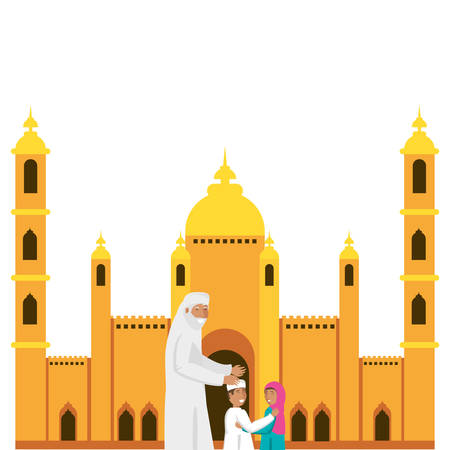 old islamic man with little kids in mosque building vector illustration design