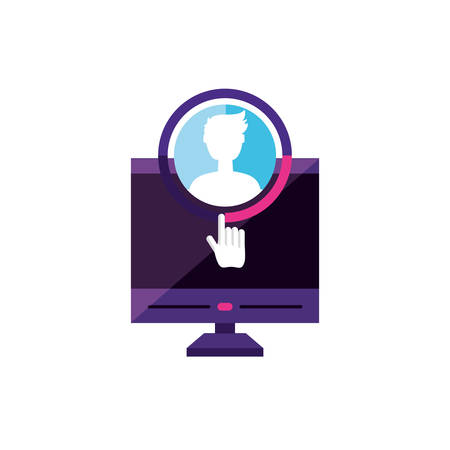 desktop with male profile account  vector illustration design